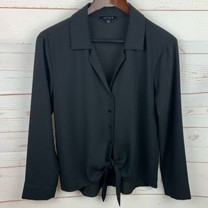 1.State | Black Button Up Tie Front Career Blouse